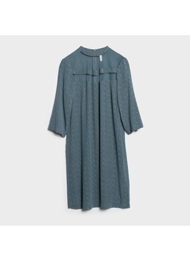 Yargıcı Yaka Detaylı Elbise İndigo